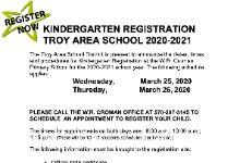 KINDERGARTEN REGISTRATION  TROY AREA SCHOOL 2020-2021