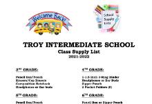 Troy Intermediate School   Class Supply List  2021-2022